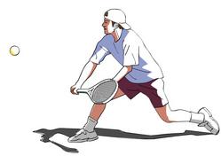 テニスのハーフボレー(Drawing様)
